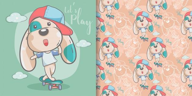 Tarjeta de felicitación lindo perro de dibujos animados con patrones sin fisuras Vector Premium
