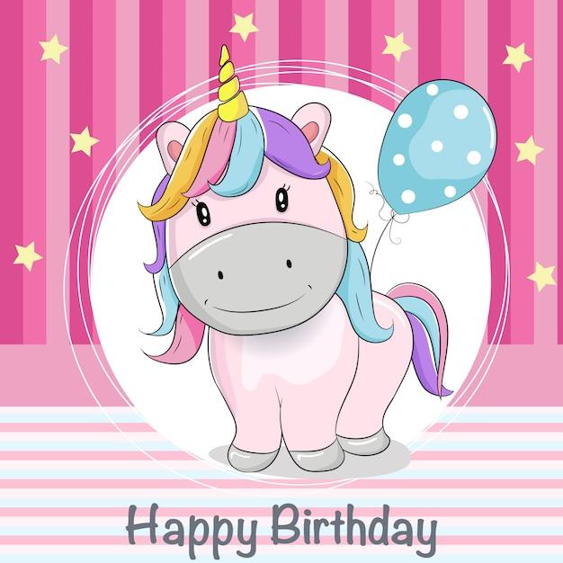 Tarjeta de felicitación lindo unicornio con globos Vector Premium