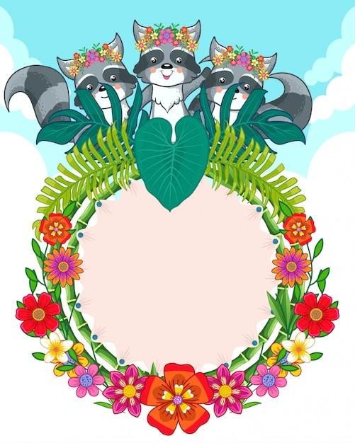 Tarjeta de felicitación de lindos mapaches y flores Vector Premium