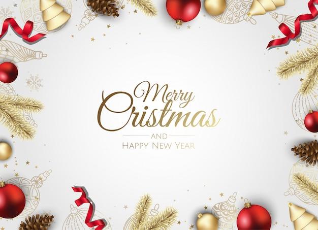 Tarjeta de felicitación de marco dorado adornos navideños Vector Premium