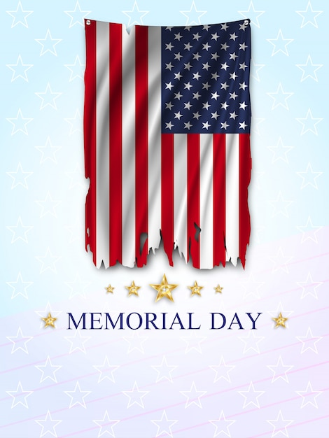 Tarjeta de felicitación del memorial day. Vector Premium