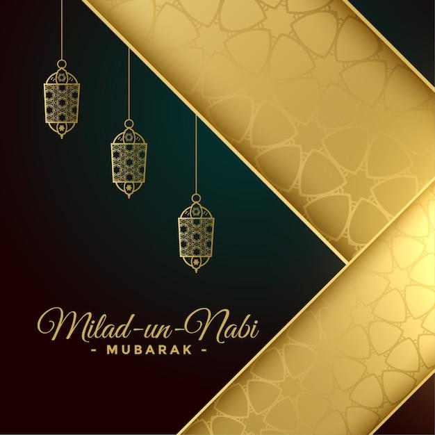 Tarjeta de felicitación milad un nabi en colores dorados vector gratuito