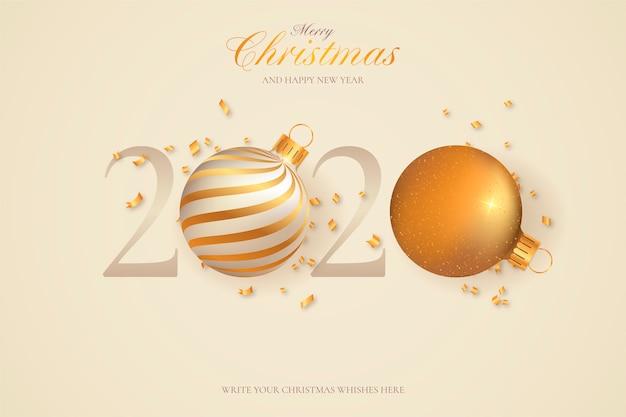 Tarjeta de felicitación mínima de año nuevo 2020 vector gratuito