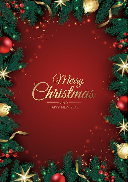 Tarjeta de felicitación de navidad con adornos de árbol de navidad, ramas de pino, copos de nieve y confeti. Vector Premium