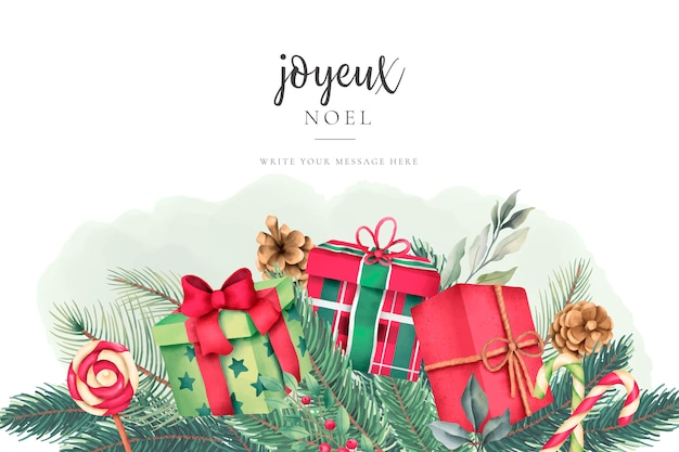 Tarjeta de felicitación de navidad con bonitos regalos de acuarela vector gratuito