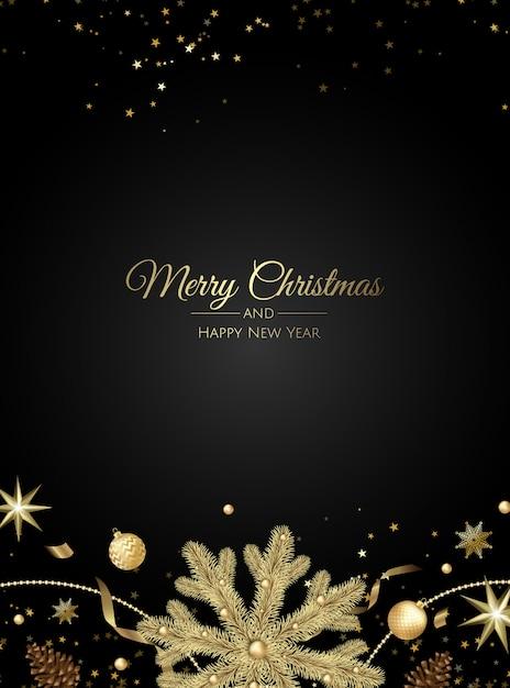 Tarjeta de felicitación de navidad con decoraciones para árboles de navidad Vector Premium