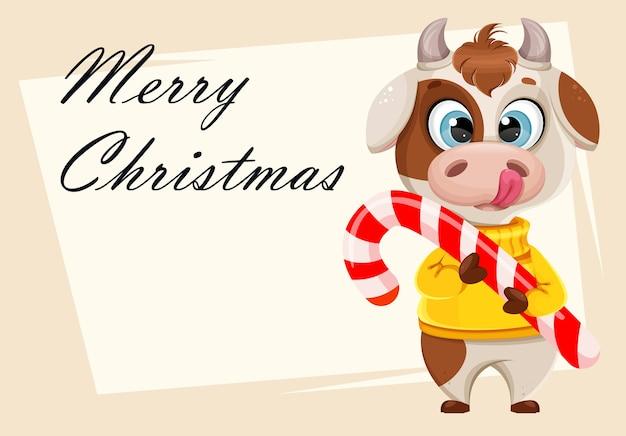 Tarjeta de felicitación de navidad feliz con toro divertido Vector Premium