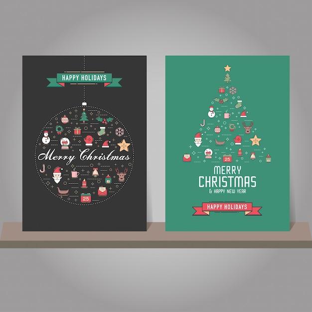 Tarjeta De Felicitación De Navidad O Conjunto De Invitación