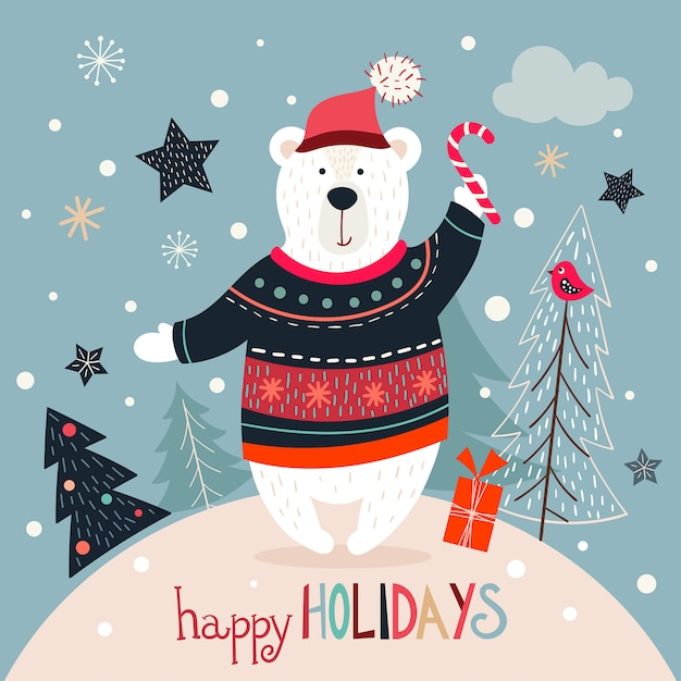 Tarjeta de felicitación de navidad con oso blanco sobre un fondo de invierno Vector Premium