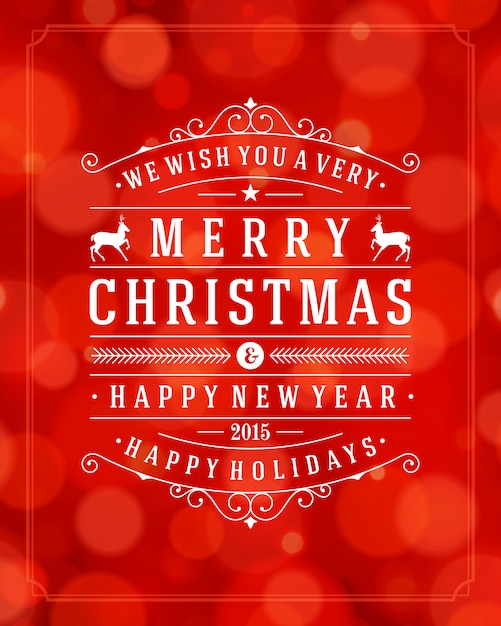 Tarjeta de felicitación de navidad tipografía retro y fondo claro Vector Premium