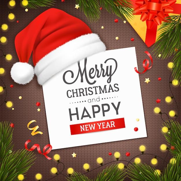 Tarjeta de felicitación de navidad vector gratuito