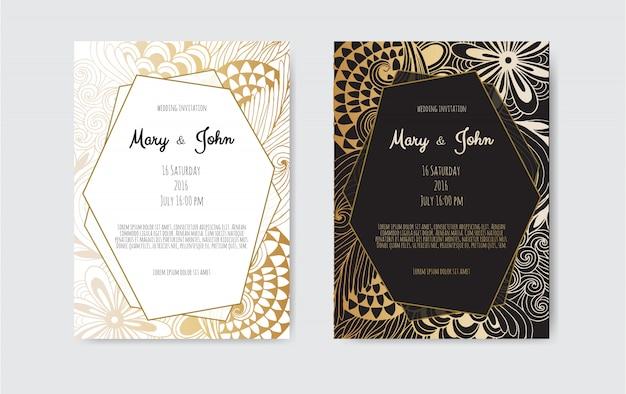 Tarjeta de felicitación de oro de la vendimia en negro Vector Premium
