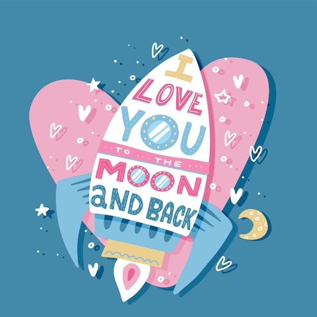 Tarjeta de felicitación de papel con colorido cohete de amor y texto Vector Premium
