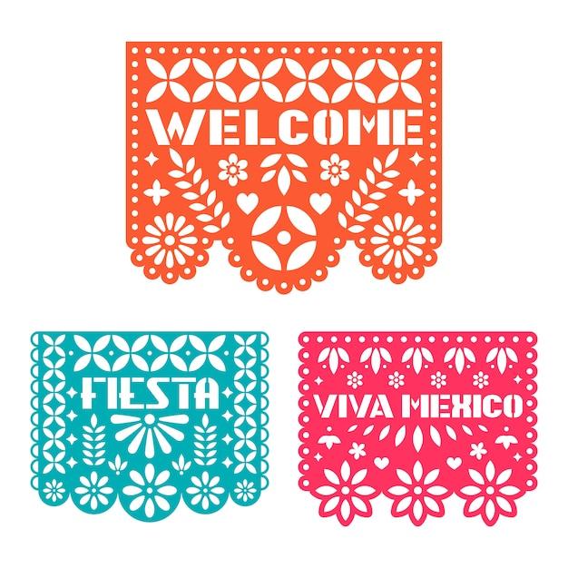 Tarjeta de felicitación de papel con flores cortadas, formas y texto. Vector Premium
