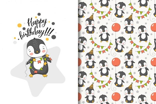 Tarjeta de felicitación de pingüino de dibujos animados lindo y patrones sin fisuras Vector Premium