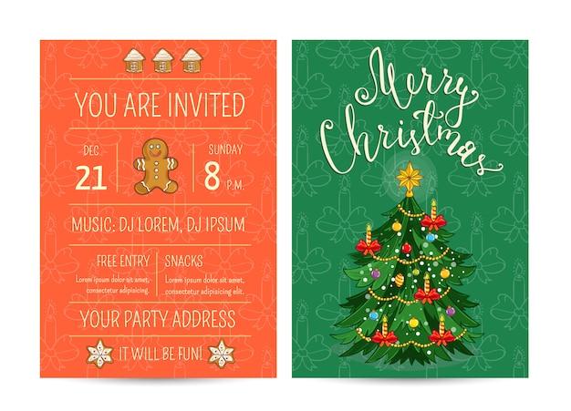 Tarjeta de felicitación de promoción brillante y plantilla de invitación para la fiesta de navidad del club Vector Premium