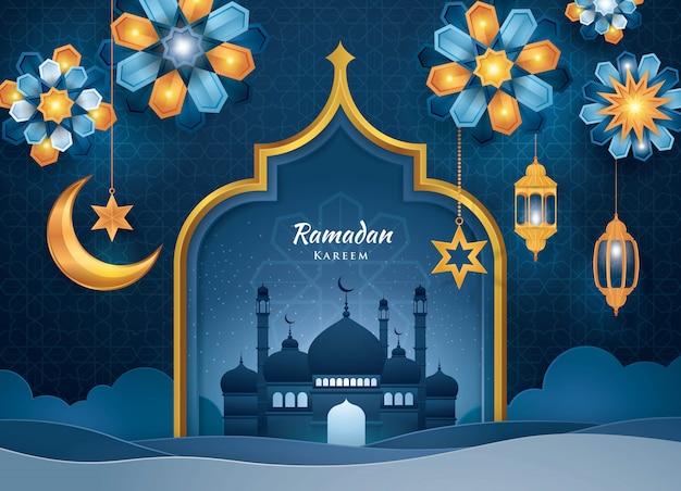 Tarjeta de felicitación ramadan kareem, estilo de arte islámico, arte de papel Vector Premium
