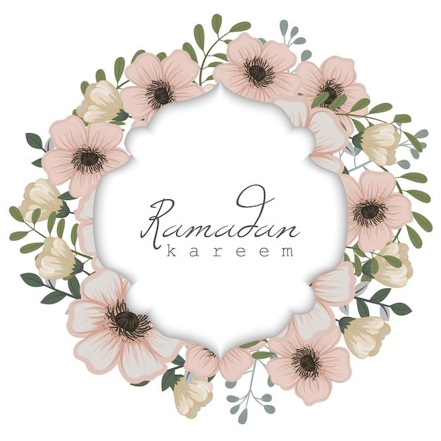 Tarjeta de felicitación de ramadán kareem con marco de flores vector gratuito