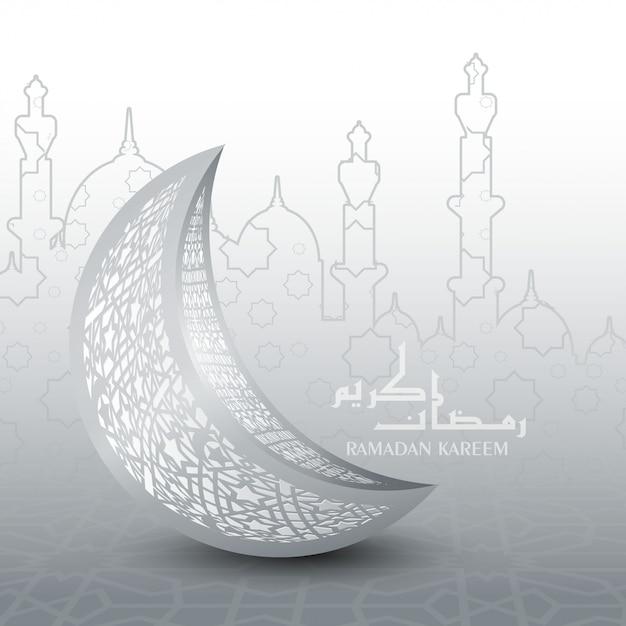 Tarjeta de felicitación de ramadan mubarak y kareem Vector Premium