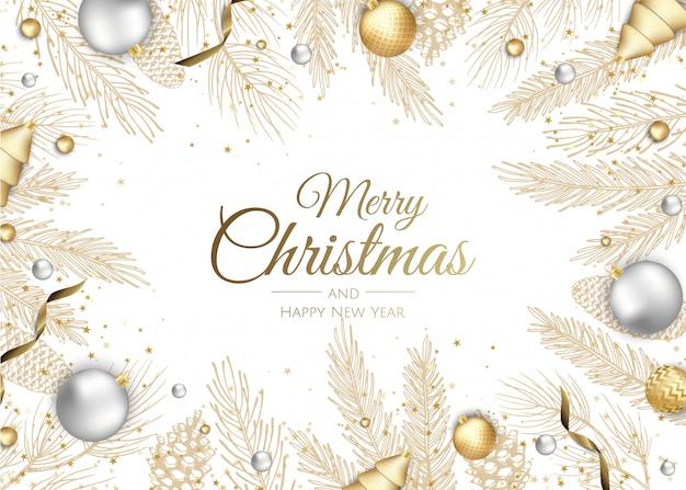 Tarjeta de felicitación de ramas de oro feliz navidad y feliz año nuevo Vector Premium
