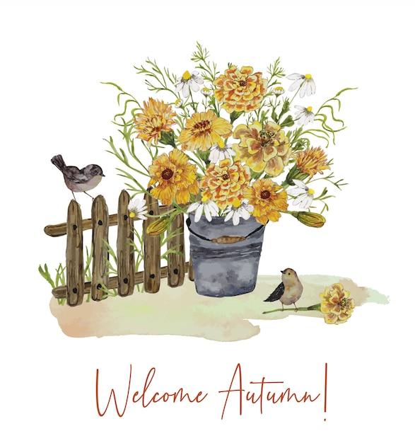 Tarjeta de felicitación con ramo de flores y pájaros Vector Premium