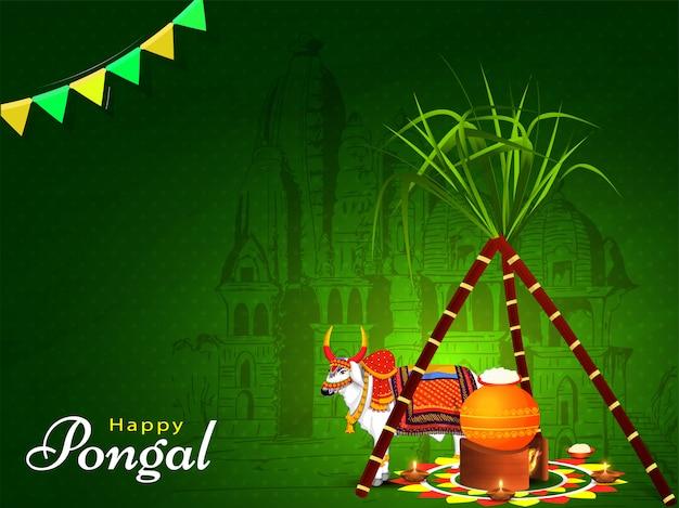 Tarjeta de felicitación verde con caña de azúcar, olla de barro en la hoguera y personaje de ox frente al templo para la celebración de happy pongal. Vector Premium