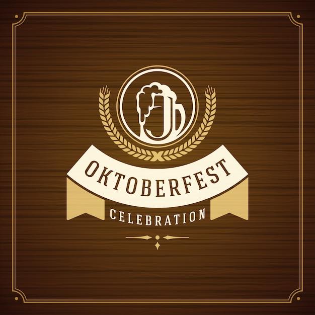Tarjeta de felicitación del vintage de la celebración del festival de la cerveza de oktoberfest Vector Premium