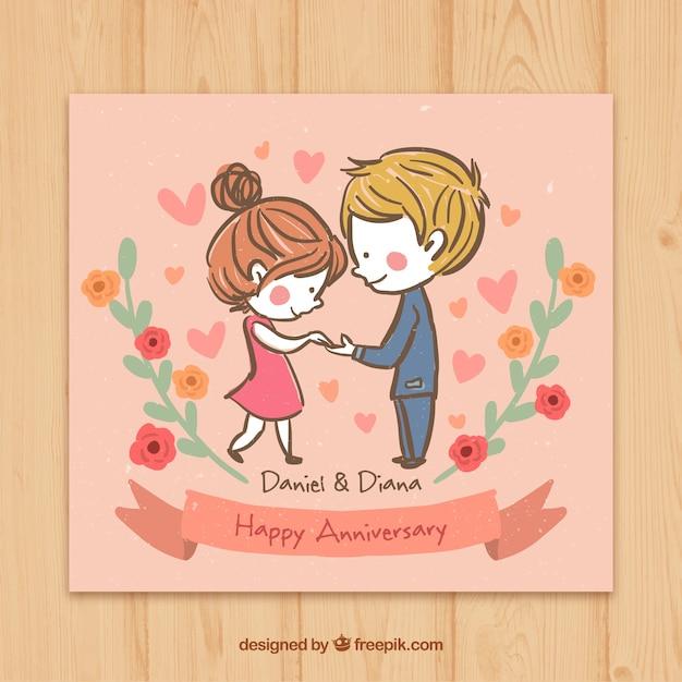 Tarjeta De Feliz Aniversario De Esbozo De Pareja Enamorada