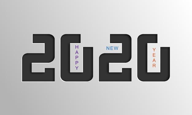 Tarjeta de feliz año nuevo 2020. Vector Premium