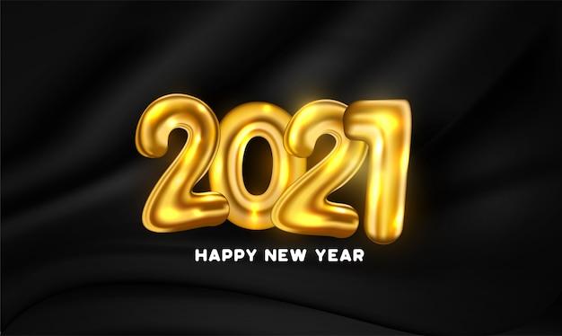 Tarjeta de feliz año nuevo con números de globo dorado vector gratuito