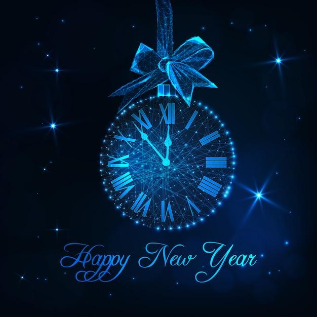 Tarjeta de feliz año nuevo con reloj como bola de navidad Vector Premium
