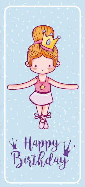 Tarjeta De Feliz Cumpleaños Bailarina De Ballet Linda Chica