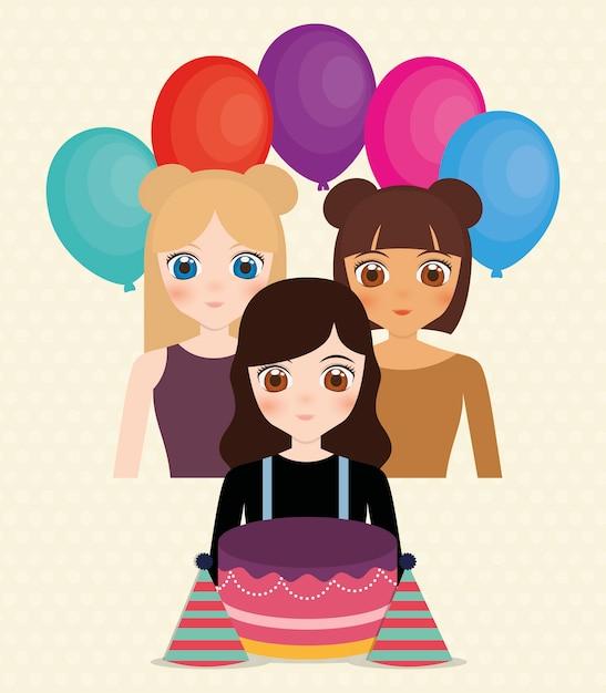 a8ddecb71 Tarjeta de feliz cumpleaños con chicas anime y globos