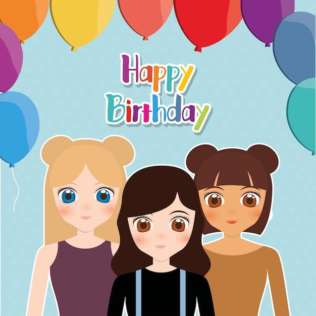 12de1741a Tarjeta de feliz cumpleaños con chicas anime y globos Vector Premium