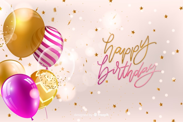 Tarjeta de feliz cumpleaños con globos vector gratuito