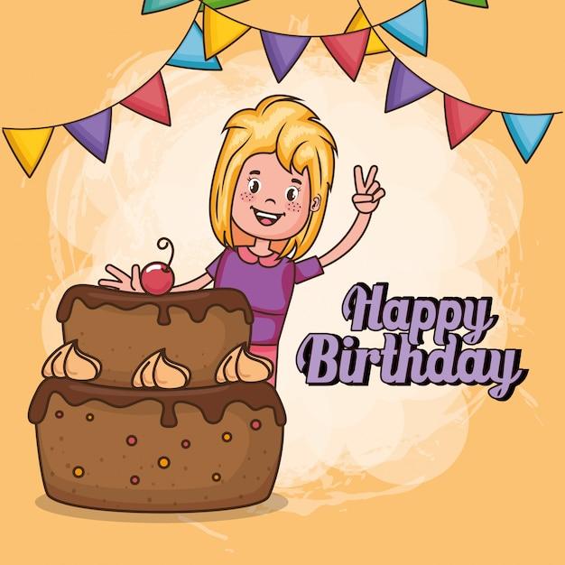 Tarjeta de feliz cumpleaños con niña vector gratuito