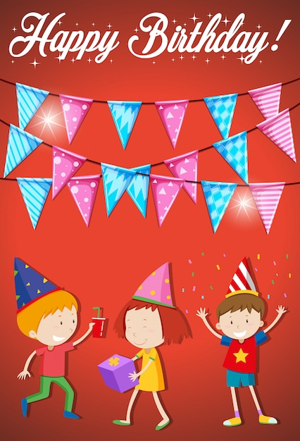 Tarjeta de feliz cumpleaños con niños pequeños vector gratuito