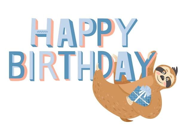 Tarjeta de feliz cumpleaños con pereza Vector Premium