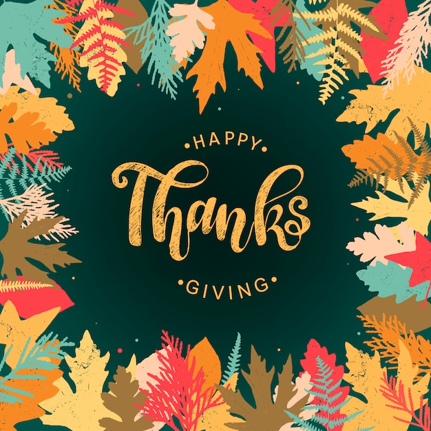 Tarjeta de 'feliz día de acción de gracias', póster, pancarta Vector Premium