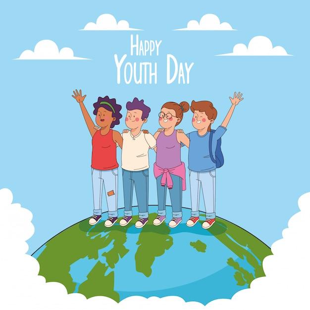 Tarjeta feliz del día de la juventud con dibujos animados de adolescentes vector gratuito