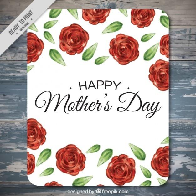 Tarjeta De Feliz Día De La Madre Con Rosas Descargar Vectores Gratis