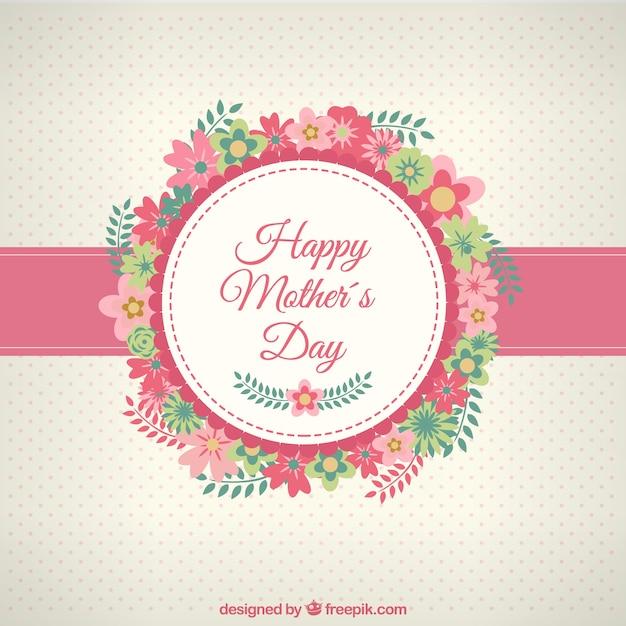 Tarjeta de feliz día de las madres con flores vector gratuito