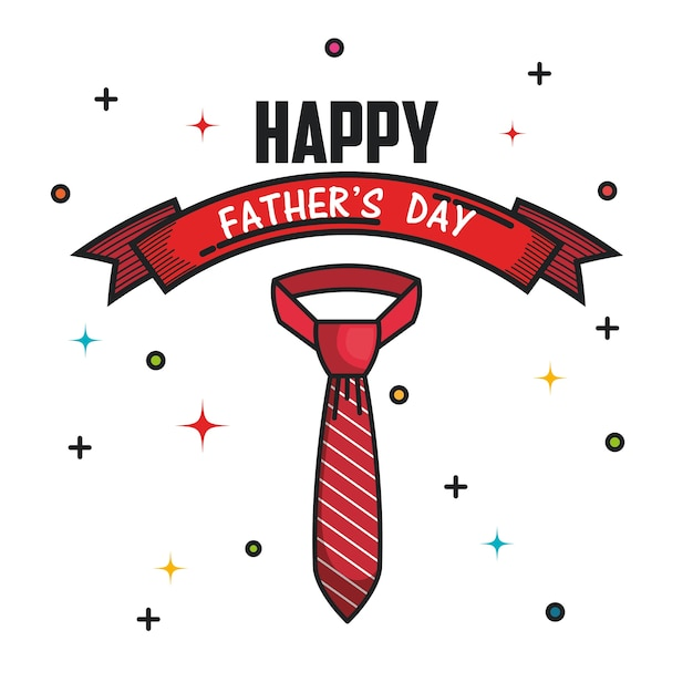 Tarjeta De Feliz Día Del Padre Con Cinta Y Corbata Roja A