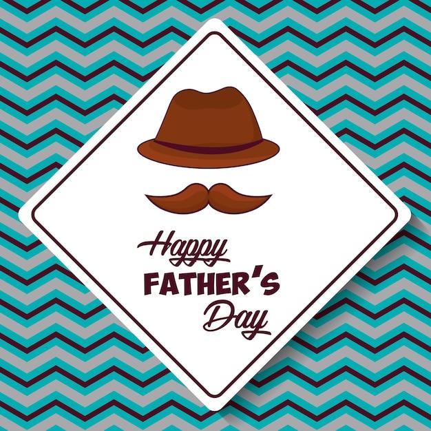Tarjeta De Feliz Día Del Padre Con El Icono De Sombrero Y