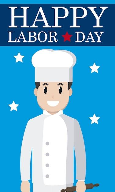 Tarjeta Feliz Día Del Trabajo Con Dibujos Animados De Chef