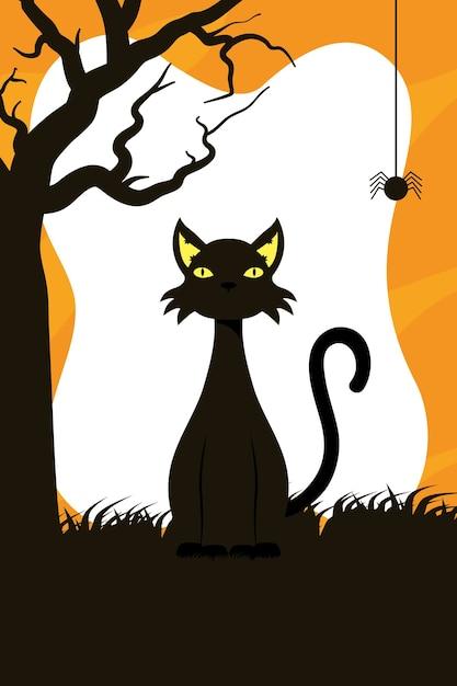 Tarjeta de feliz halloween con mascota gato negro y diseño de ilustración de vector de escena de araña Vector Premium