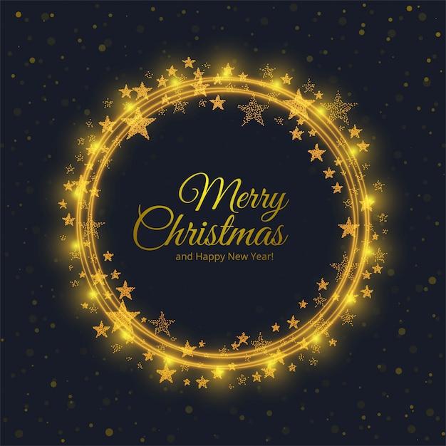 Tarjeta de feliz navidad con fondo de estrellas brillantes círculo vector gratuito
