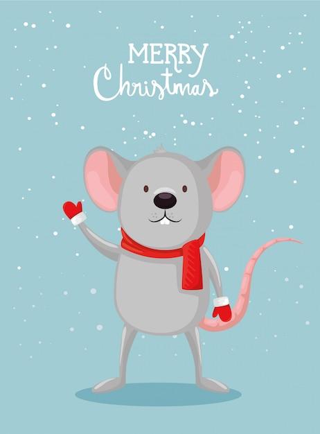 Tarjeta de feliz navidad con lindo mouse vector gratuito