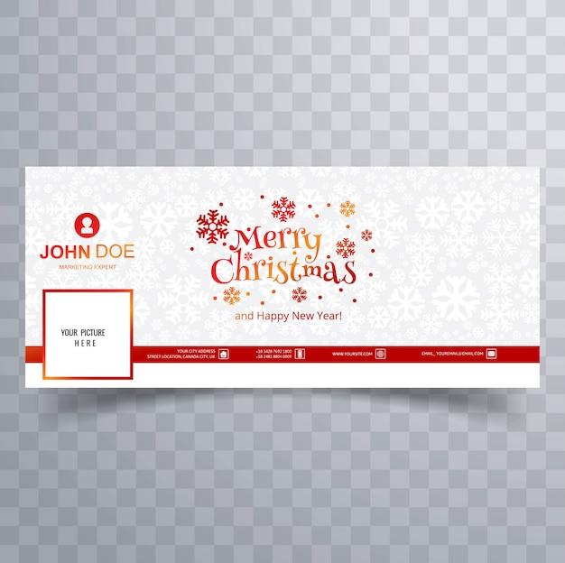 Tarjeta de feliz navidad con plantilla de banner de portada de facebook vector gratuito