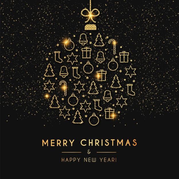 Tarjeta de feliz navidad y próspero año nuevo con bola de navidad dorada vector gratuito
